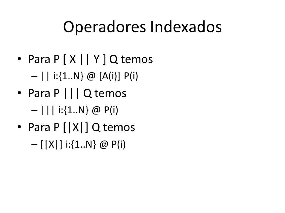 Operadores Indexados Para P [ X    Y ] Q temos Para P     Q temos